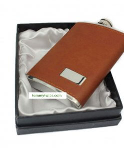 Brown Leather 8oz Hip Flask in Gift Box