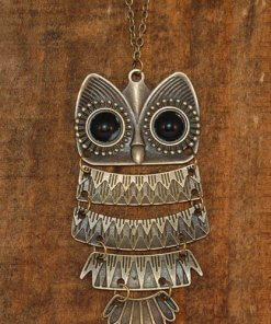 Owl Necklace Vintage Bronze