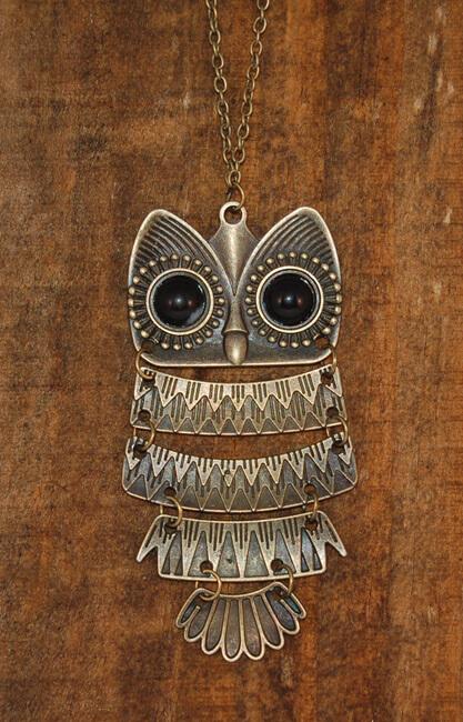 Owl Necklace Vintage Bronze