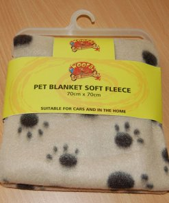 Soft Warm Pet Paw Print Fleece Blanket (Dog / Cat)