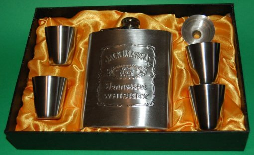 Jack Daniels 7oz Hip Flask 6 Piece Gift Set