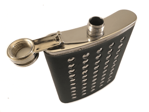 Stainless Steel Stud & Black Leather 8oz Hip Flask
