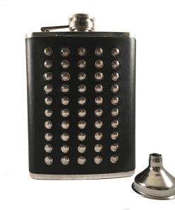Stainless Steel Stud & Black Leather 8oz Hip Flask