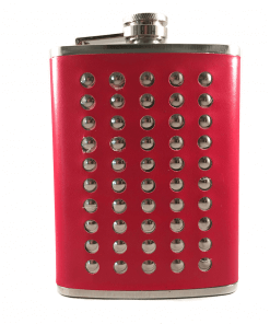 Stainless Steel Stud & Red Leather 8oz Hip Flask