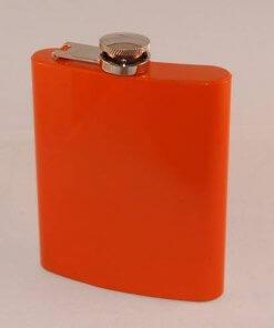 Coloured Stainless Steel 7oz Hip Flask - Orange
