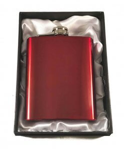 Coloured Stainless Steel 7oz Hip Flask - Red
