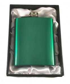 Coloured Stainless Steel 7oz Hip Flask - Green