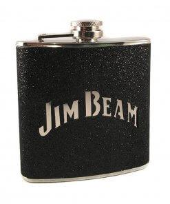 Jim Beam Stainless Steel 6oz Black Hip Flask