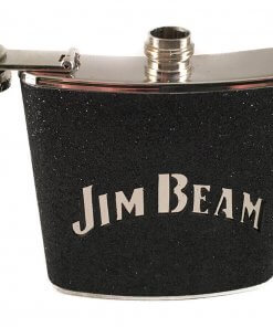 Jim Beam Stainless Steel 6oz Black Hip Flask