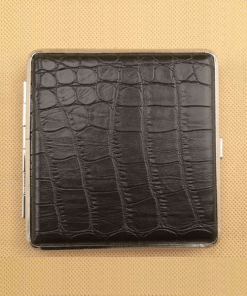 Black Crocodile-look Designer Cigarette Case