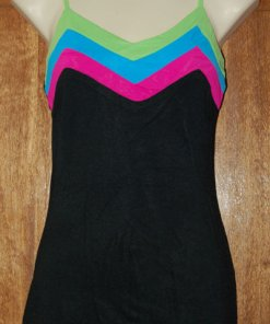 Black top with coloured stripe v-neck