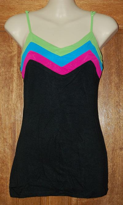 Black top with coloured stripe v-neck
