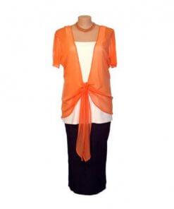 Plus Size Mesh Tie Jacket - Apricot