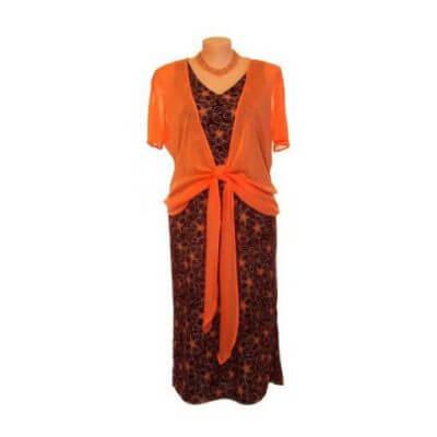Plus Size Sleeveless V-Neck Structured Dress - Chocolate/Apricot