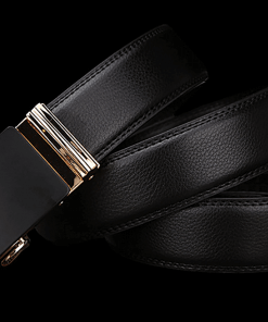 Business Belt with Black & Gold Automatic Buckle