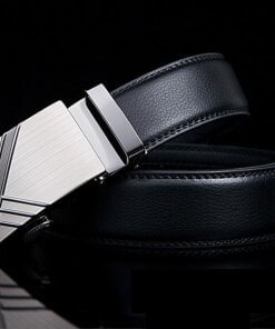 Black Business Belt with Stylish Automatic Buckle
