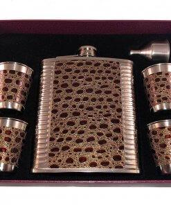 Crocodile Leather Look 18 oz Hip Flask 6 Piece Gift Set