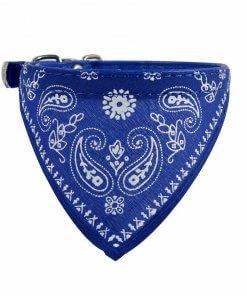 Cute Dog/Cat Collar with Paisley Bandana - Blue - Small