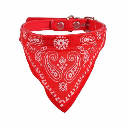 Cute Dog/Cat Collar with Paisley Bandana - Red - Small