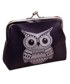Owl Print Clutch Purse with Metal Kiss Clasp