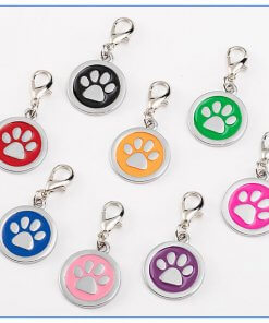 Enamelled Paw Print Pet ID Tag