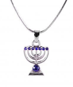 Silver Necklace with Menorah Pendant and Glass Crystals in Blue