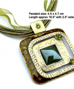 Square enamel pendant necklace with silk cord