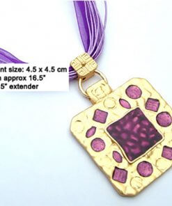 Inlaid enamel pendant necklace with silk cord