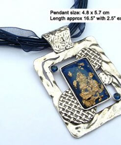 Enamel pendant necklace with ingot centrepiece and silk cord