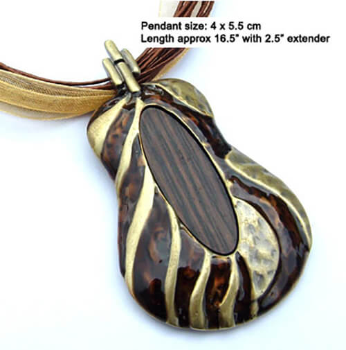 Wooden and enamel pendant necklace with silk cord
