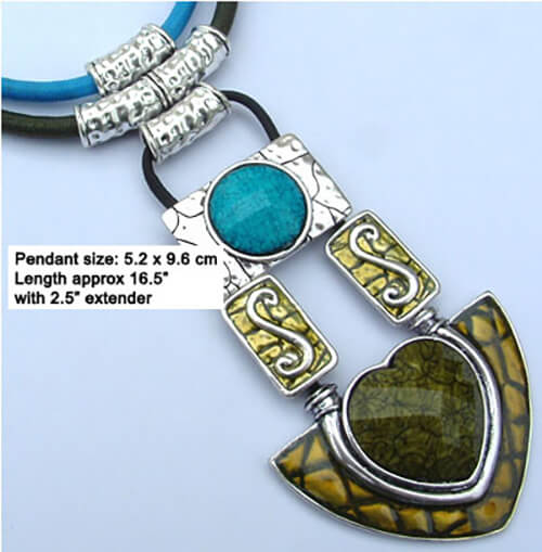 Blue & green enamel pendant necklace with silk cord