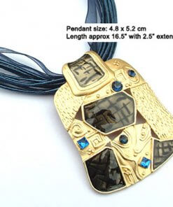 Abstract enamel pendant necklace with silk cord