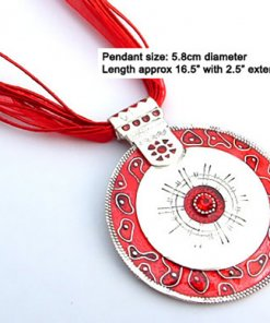 Round pendant necklace with silk cord - Red