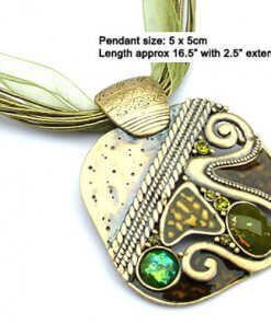 Bejewelled square enamel pendant necklace with silk cord - Green