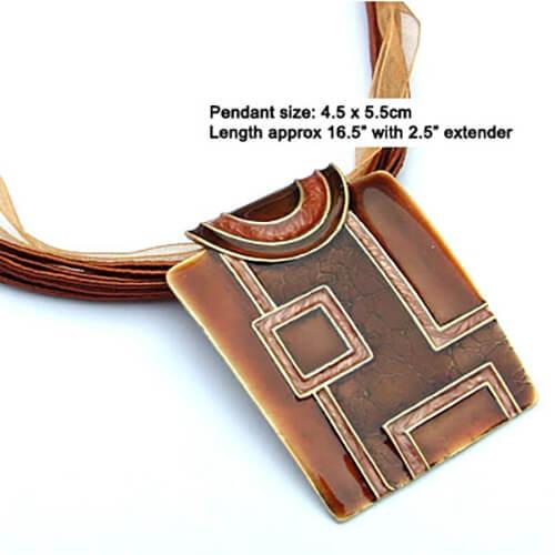 Geometric pendant necklace with silk cord - Bronze