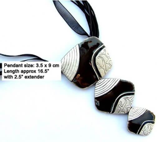 Cascading enamel pendant necklace with silk cord - Black