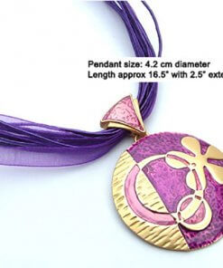 Flower enamel pendant necklace with silk cord
