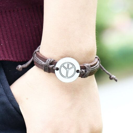 Unisex Brown Leather Wristband with Cord